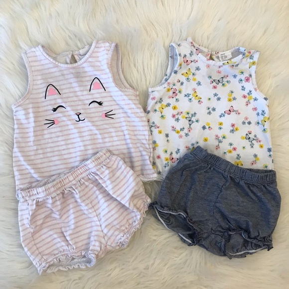 H&M Other - H&M Baby Girl Top & Puff Shorts Sets 6-9M